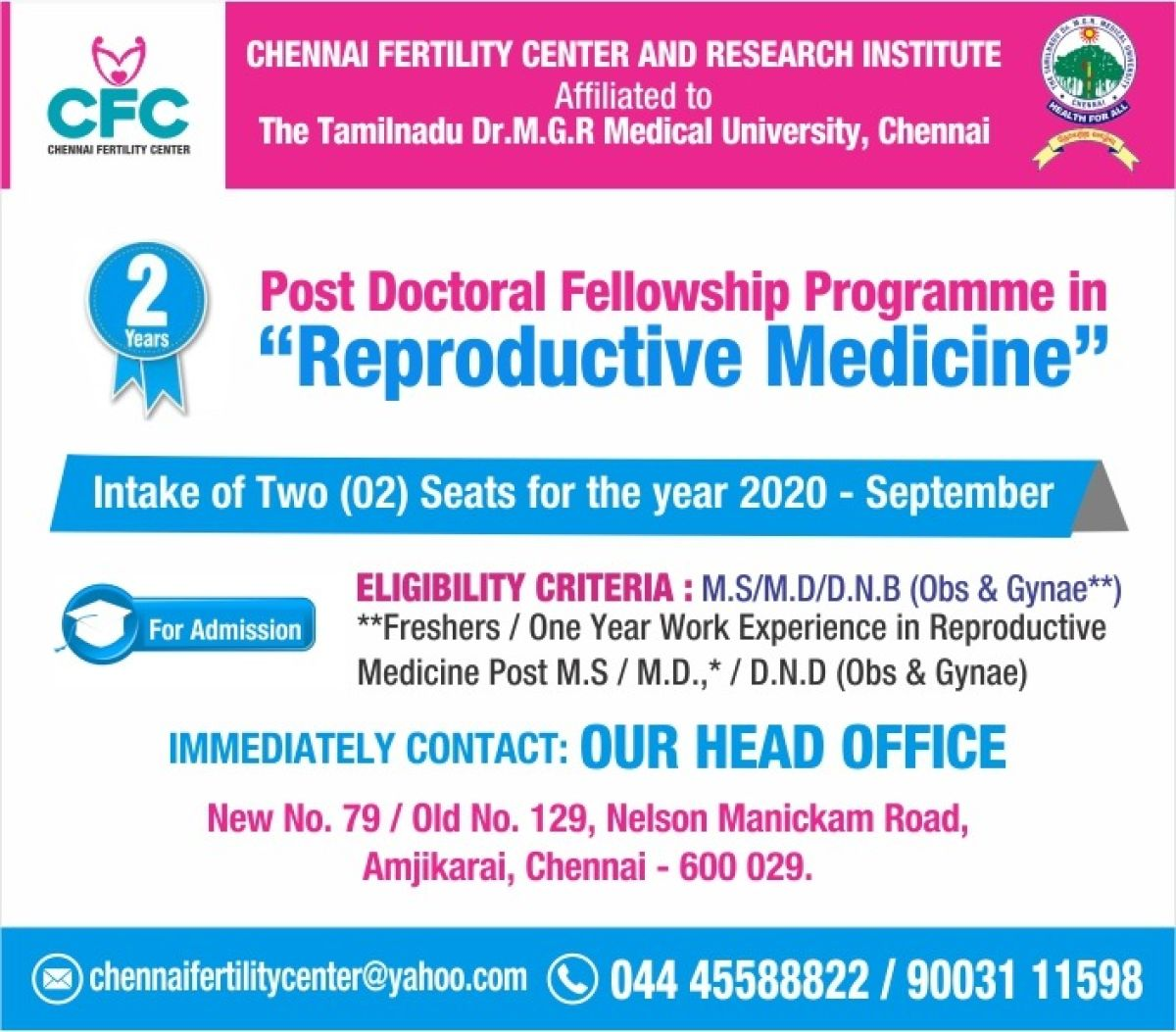 """Post Doctoral Fellowship Programme in """"Reproductive Medicine"""""""