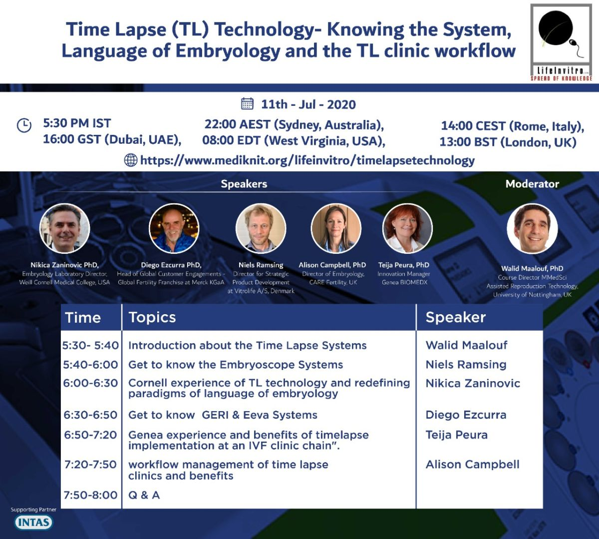 Webinar on Time Lapse (TL) Technology- Knowing the System, Language of Embryology and the TL clinic workflow