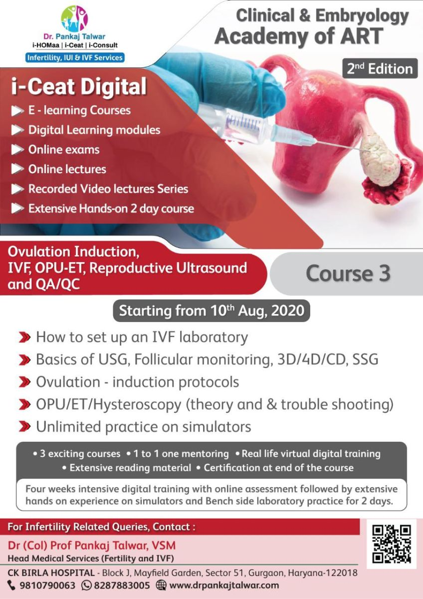 Course Name: Ovulation Induction, IVF, OPU-ET, Reproductive Ultrasound and QA/QC