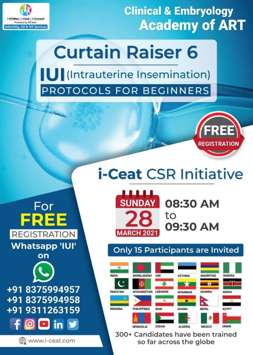Curtain Raiser 6 - IUI ( Intrauterine Insemination ) PROTOCOLS FOR BEGINNERS