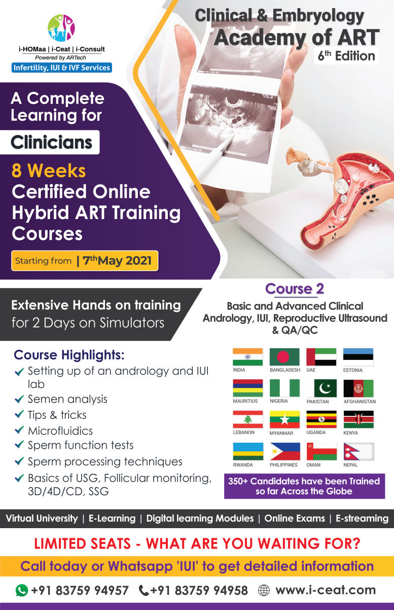 Basic to Advanced Clinical Andrology , IUI , Reproductive Ultrasound & QA/QC
