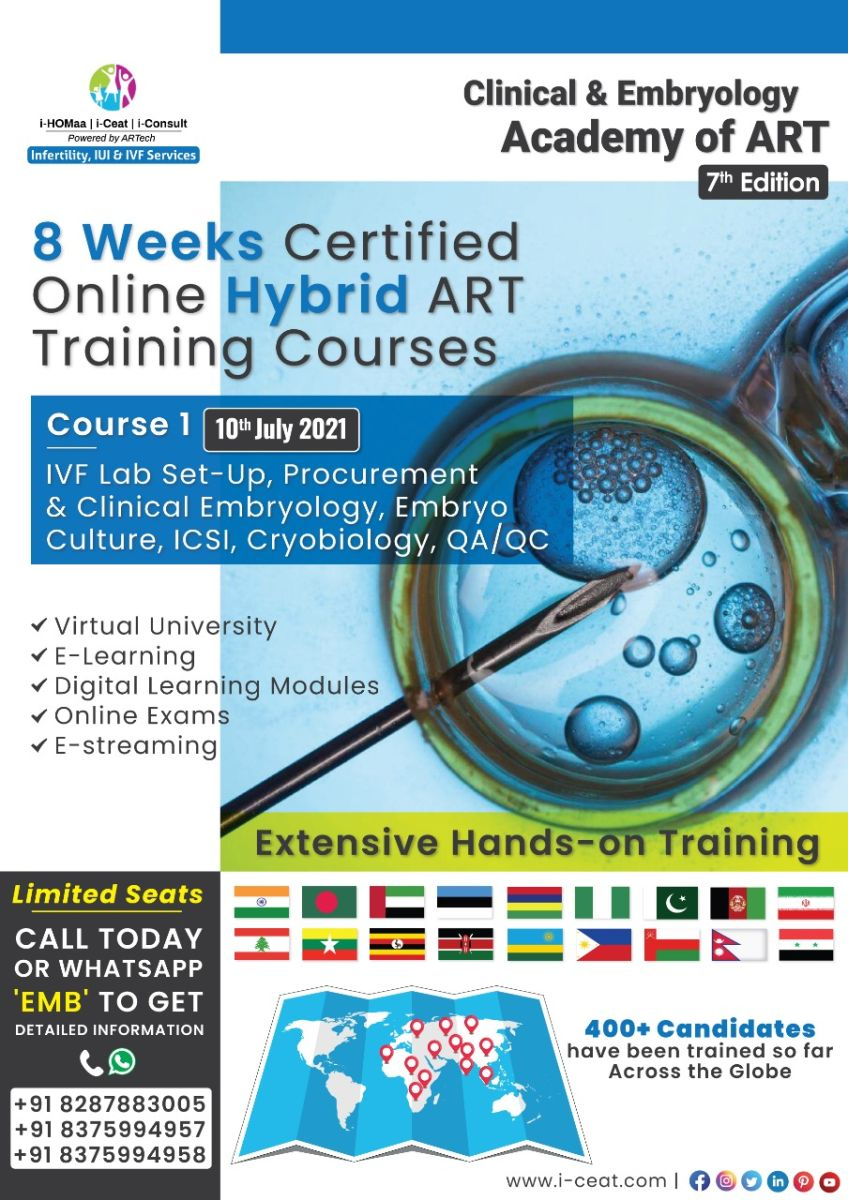 Course Name : Basic to advanced embryology for clinicians & Embryologist-Embryo Culture, ICSI, Cryobiology & QA/QC