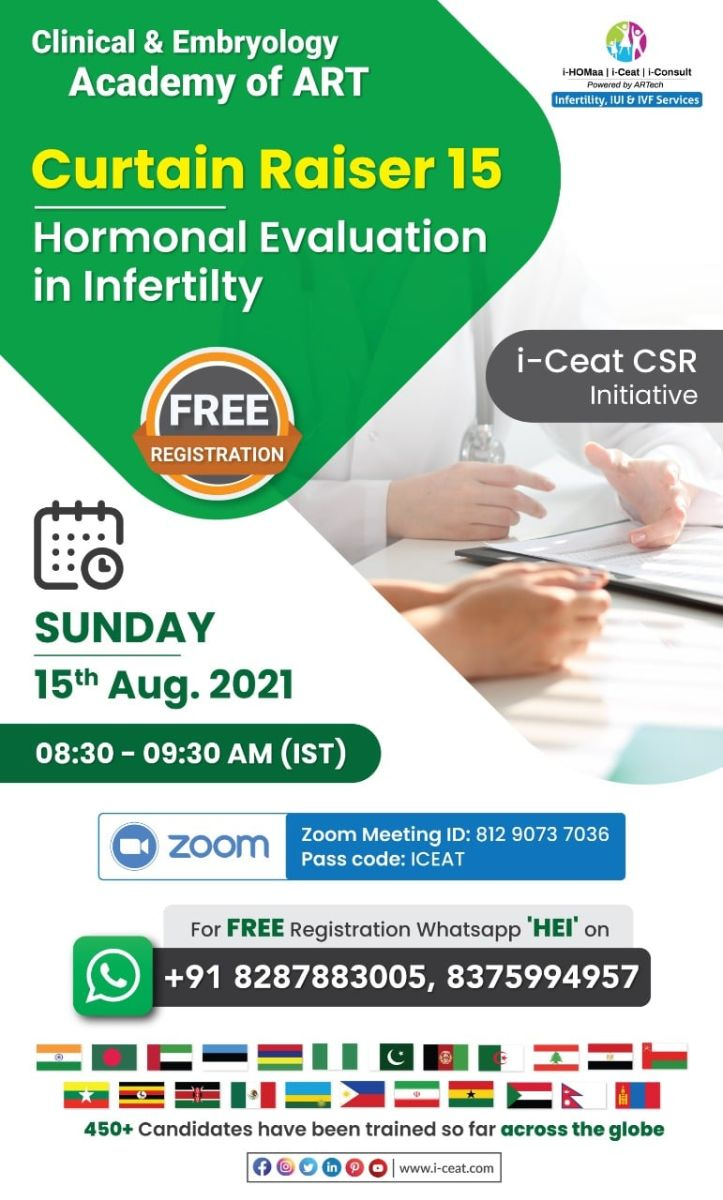 """Join special curtain-raiser 15 class """"Hormonal Evaluation in Infertility"""""""