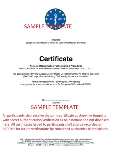 EACCME Certificate Template for Review which will be issued after completion