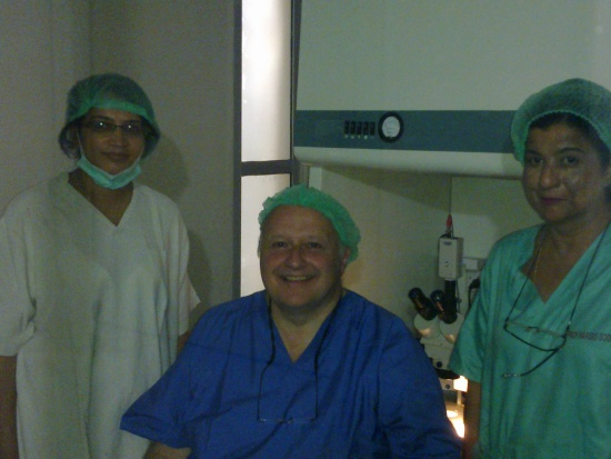 A memorable picture during Hands-On part of the IVF Training in 2010 of Prof. Claude, Prof. Rubina and Prof. Nargis