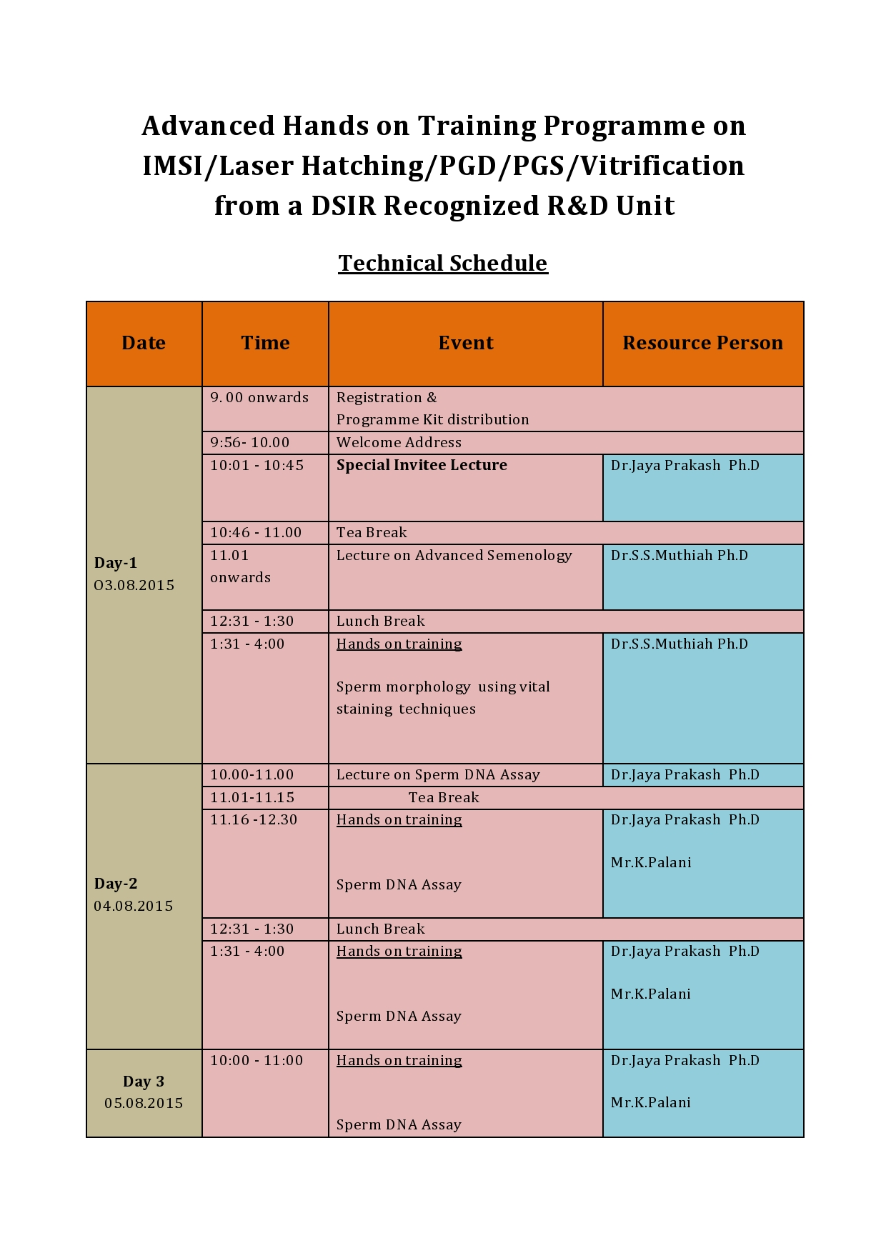 Technical Schedule - Page 1