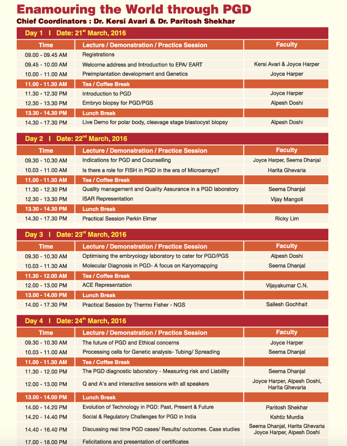 Program at the E3-Empowering Excellence in Embryology Conference:
